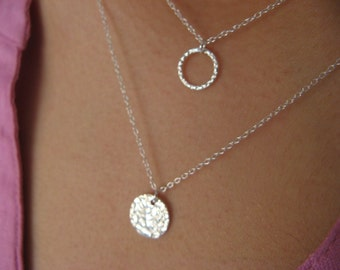 Dainty Circle Necklace - Sterling Silver Layering Necklaces - multi strand necklace - minimalist - eternity circle necklace