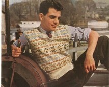 "PDF Knitting Pattern Men's Fair Isle Pullover Stitchcraft 1940's 39-41"" Instant Download"