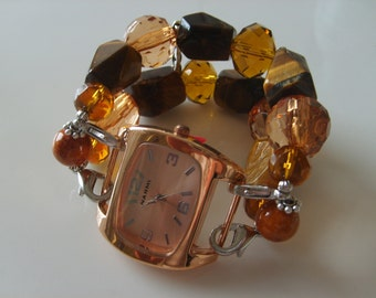 Double Stranded Gold & Brown Beaded Watch Bands Set (213)