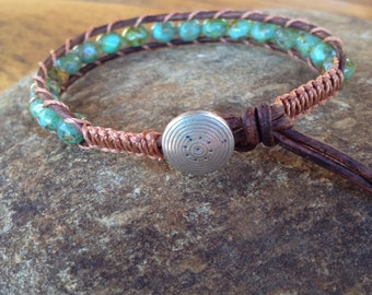 Leather wrap bracelet with turquoise Czech beads on brown leather with pewter button and macrame
