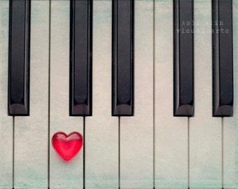 8x10 Print, Fine Art Photography, Valentines Day, Heart, Still Life Photography, Piano, Vintage Photograph, Wall decor