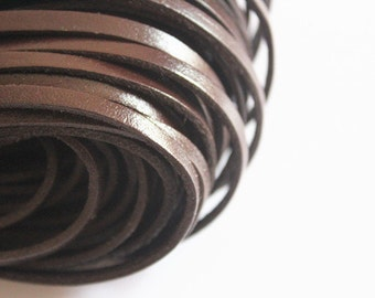 4mm Real Flat Leather Cord, 6 feet Leather Strip, Brown Genuine Flat Leather String, Jewerly Leather String Cord