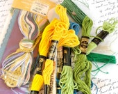 Embroidery Floss, Yellow, Green, 8 Skeins, Sewing Notions, Craft Supply Destash Lot
