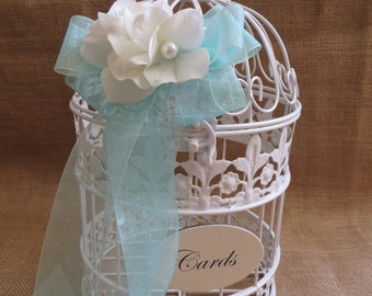 Pick your flowers - White Wedding BirdCage Card Holder, Wedding Card Box, Wedding Money Holder, Wedding Money Box, Gift Card Holder