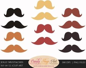 Jolly Mustache Clipart, Moustache Clipart, Mustache Clip art - Instant Download