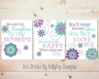 You are My Sunshine Girl Nursery Decor Baby Girls Room Wall Art Girls Room Art Prints Purple Mint Baby Girl Nursery Trio Nursery Song #0542