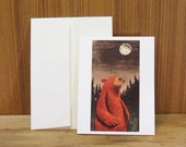 Red bear migrating card.