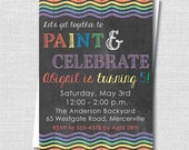 Chalkboard Rainbow Birthday Party Invitation - Rainbow or Art Party - Digital Design or Printed Invitations - FREE SHIPPING