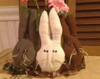 Set of 3 Primitive Handmade Olde Hare Assorted Chocolate Easter Bunny Ornies, Bowl Fillers, Tucks, Milk, White and Dark Chocolate Bunnies