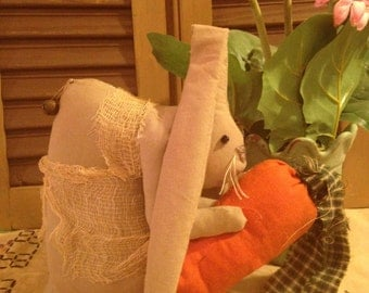 Handmade Primitive Olde Hare Easter Bunny with Apron and Holding a Carrot