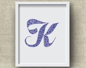 Letter K Print, Custom 8x10 Monogram Art Print - Alphabet, Heart, Love, Wedding Gift