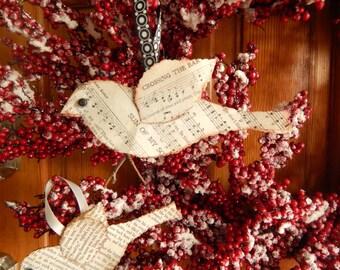 Book Birds Bird Ornaments Paper Ornaments Ornaments Bird Tags Glittery Tags Layered Bird Ornament