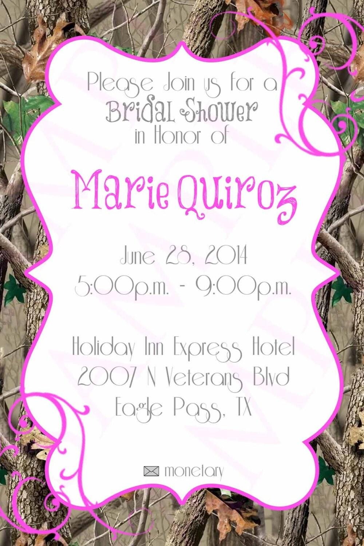 Pink Camo Bridal Wedding Shower Invitation Digital File 4x6 JPEG ...