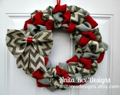 Burlap Wreath, Christmas Burlap Wreath, Red and Grey and Chevron Burap Wreath, Bubble Wreath, Holiday Wreath