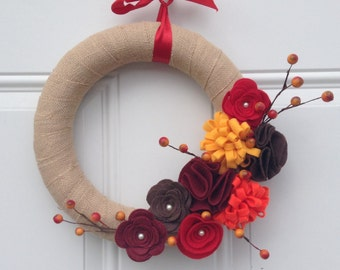 Fall Wreath, Burlap Wreath, Brown, Yellow, Orange Wreath, Red Felt Flowers and berries Door Wreath 12 inches, Fall Decor