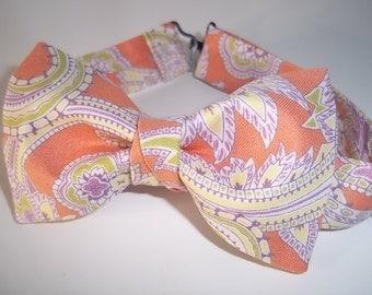 Peach Paisley Bow Tie-Peach Wedding Tie-Peach Ring Bearer Bow Tie-Apricot Wedding Bow Tie-Boy's Bow Tie -Custom Bow Tie-Kids Bow Tie