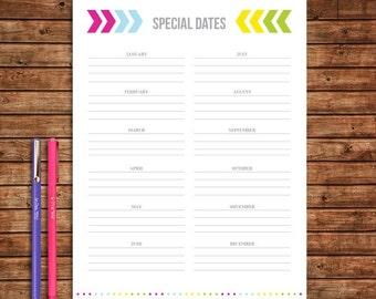Special Dates - INSTANT DOWNLOAD