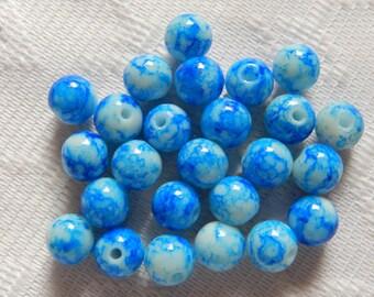 25  Dark Turquoise Blue & White Veined Round Ball Glass Beads  8mm