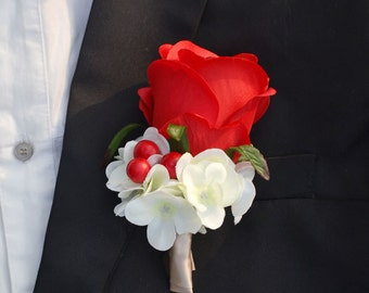 wedding artificial flower boutonniere vintage style rose more color