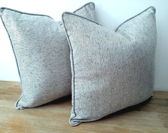 """Throw Silk Silver Pillow 18"""" by 18"""" ,   Metalize Pillow, Modern Shiny Cushion"""