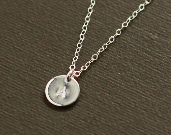 Tiny Silver Initial Necklace - Sterling Silver Personalized Initial Necklace - Customized necklace