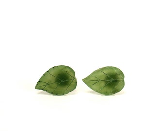 Leaf earrings - leaf studs - jade earrings - nature - green leaf earrings - green leaves - a pair of carved jade leaf stud earrings