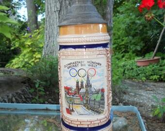 Vintage Olympics Munich / München Beer Stein- 1972