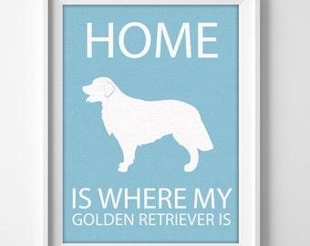 """8x10"""" Golden Retriever Wall Art, Illustrated Dog Art, Golden Retriever Decor, Dog Breed Wall Art, Minimalist Pet Art, Puppy Wall Art Print"""