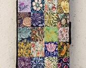 iphone 4, 5 or 6 case -  Galaxy S3 S4 mini S5 - wallet flip case - cover - patchwork - William Morris - Floral - Flower - Arts and Crafts