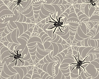 2016, 2015, 2014 Spooktacular Caught in a Web Grey Fabric Yard by Maude Asbury for Blend Fabric, Halloween 101.107.09.2