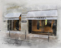 CHANEL Boutique Shop Original Art Print, 31 rue Cambon, Paris, Fashion Gifts, Wall Art, Home Decor