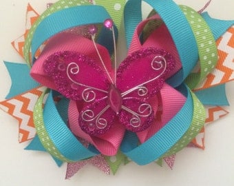 Glitter butterfly boutique bow