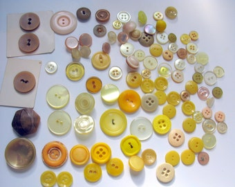 Antique Yellow Buttons Vintage Rare collectible buttons