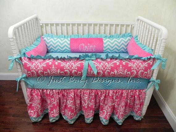 Hot pink camo baby bedding - Baby Crib Bedding Claire Girl Baby Bedding Hot Pink And Aqua Baby