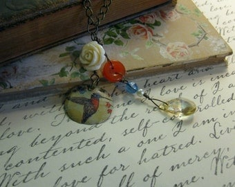 Humming Bird Recycled Vintage Tin Necklace **FREE SHIPPING**