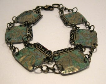 Recycled Vintage Tin and Bronze Chain Bracelet **FREE SHIPPING**