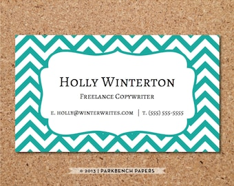 Business Card Template - Teal Chevron -  DIY Editable Word Template, Instant Download, Printable