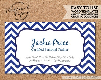 Business Card Template - Blue Chevron & Frame -  DIY Editable Word Template, Instant Download, Printable