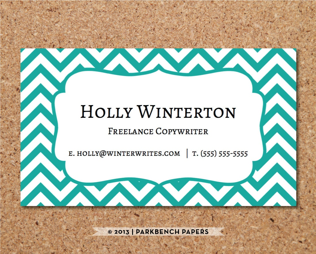 downloadable business card templates for word - business card template teal chevron diy editable word