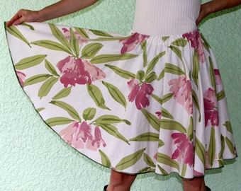 Vintage VERA Tablecloth Circle Skirt -  STATELY Flowers, soft purples & greens, sizes up to XL