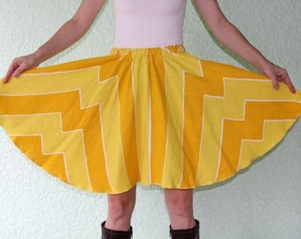 Vintage Tablecloth Circle Skirt - SUNNY yellow STRIPES 100% linen, sizes up to XL