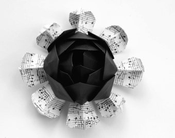 50 Origami Lotus Blossoms - Sheet Music Wedding Favors - Black and White Wedding