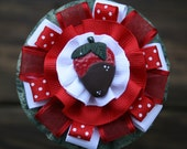 Mason Jar Craft - Lid Decorative Bow  - Polymer Clay Chocolate Covered Strawberry