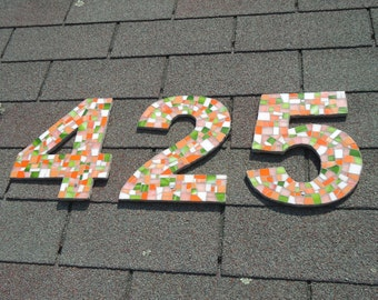 Address Numbers in Mosaic Tile in Orange, Coral and Green Stained Glascz