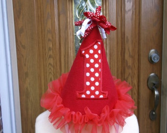 Girls 1st Birthday Party Hat - Red And White - Free Personalization