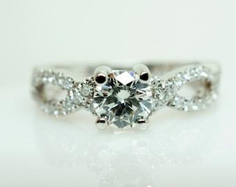 SALE Diamond Engagement Ring Infiniti Band Wedding Band Complete Bridal Set 14k White Gold Petite Diamond Ring Wedding