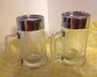 Glass Salt and Pepper Shakers with Plastic Lids