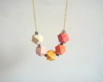 Geometric Necklace , Faceted  Wood Geometric Necklace,Geometric Jewelry