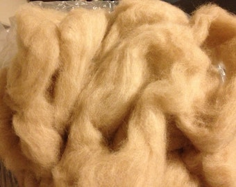 Lamb Border Leicester / BFL & Alpaca roving light golden fawn