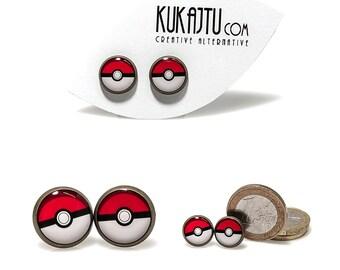 Poke Ball Stud Earrings Cartoon Poke Ball Jewelry Black Red White Earrings Pokemon Jewelry Pokeball Stud Earrings